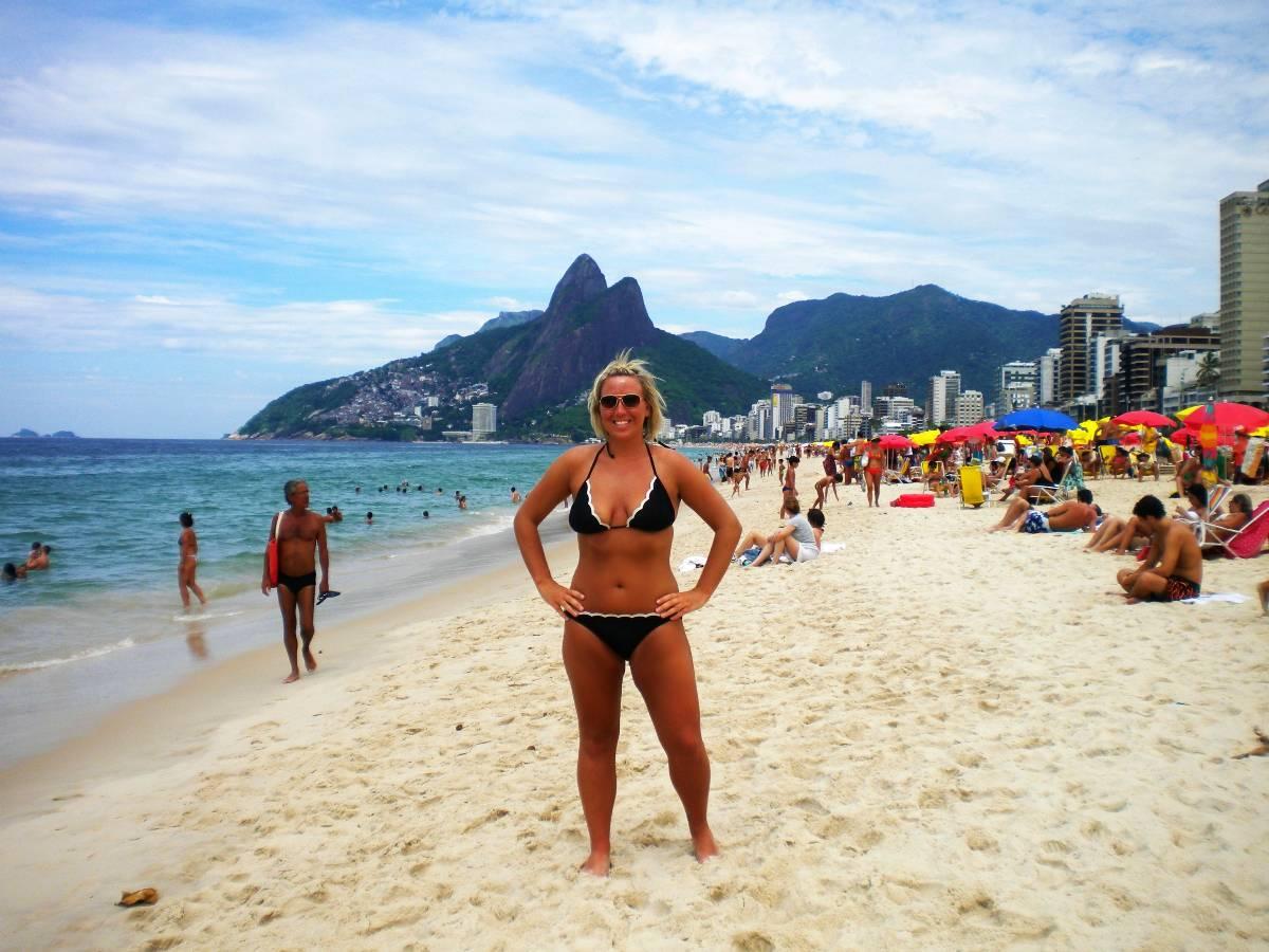 Me on Ipanema Beach in Rio de Janeiro, Brasil.