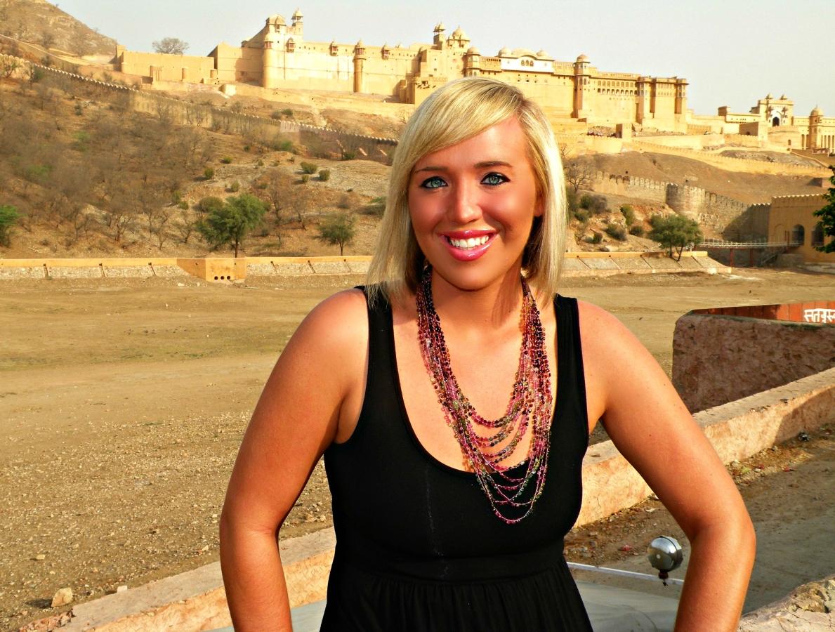 Me in Jaipur, India modeling my brand new twelve stranded tourmaline necklace.