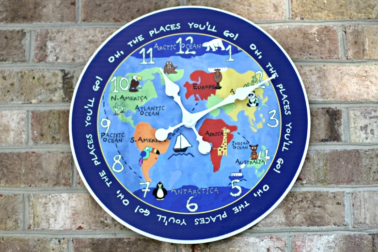 Giveaway kids world map clock my beautiful adventures giveaway kids world map clock gumiabroncs Image collections