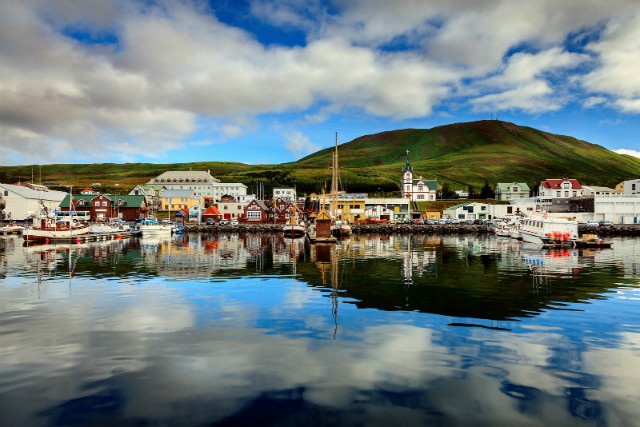 Calm Morning in Husavik Harbor in Northern Iceland