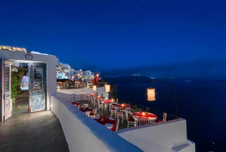 Lauda Restaurant by night in Santorini