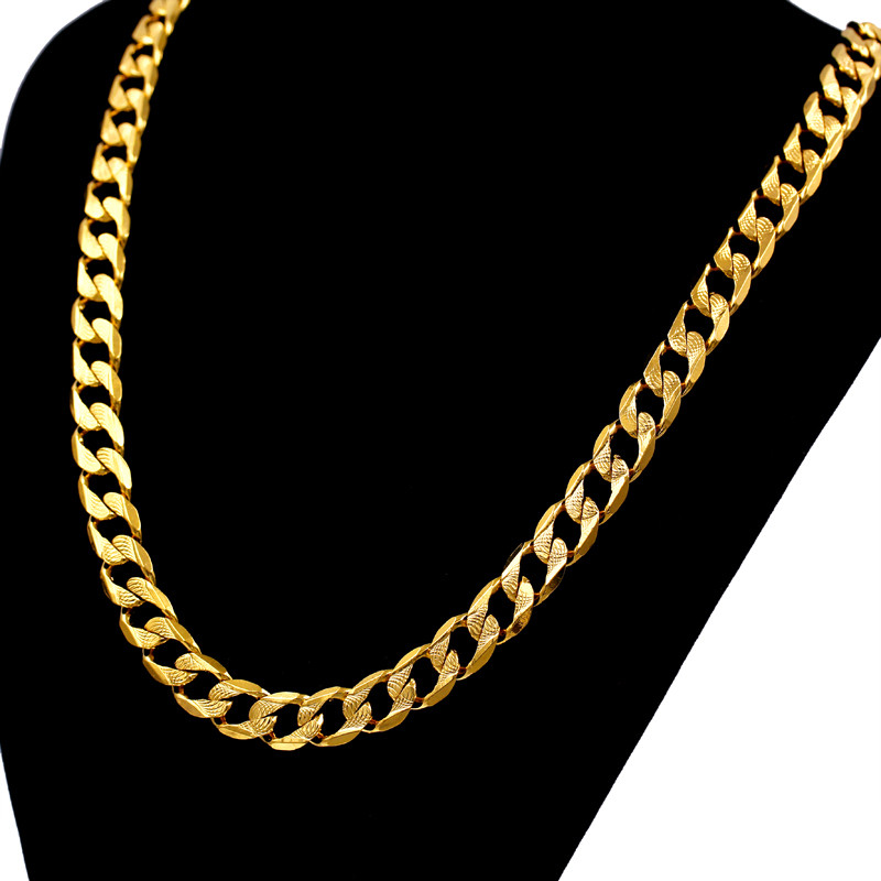 stamp chain unique necklace real for jewelry with row diamond plated ct gold yellow men necklaces chains inches snake prong trendy new