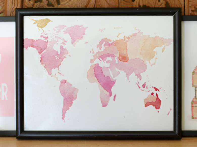 WordsAndConfetti My Beautiful Adventures Watercolor World Map Print