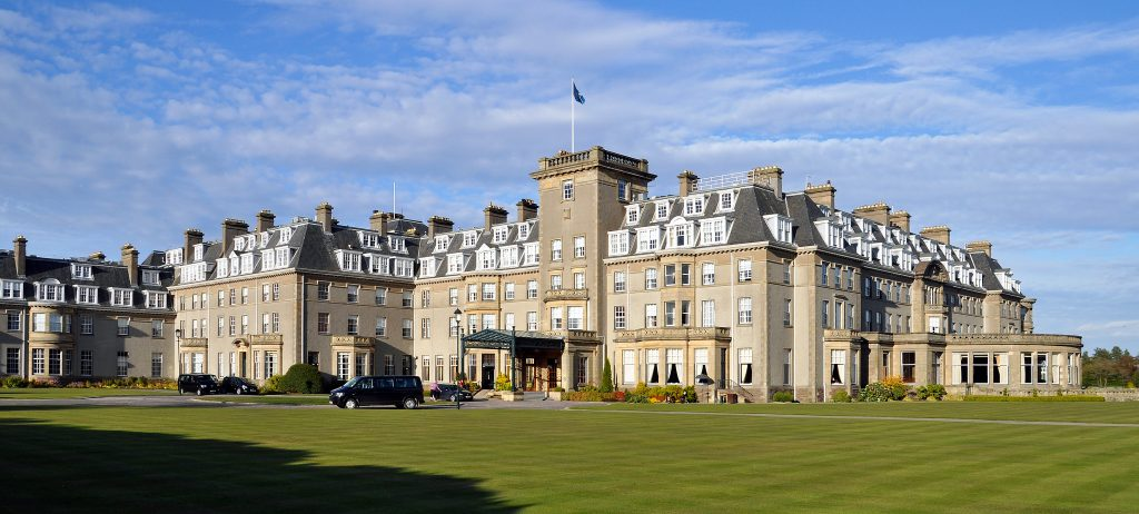 Falconry and horse riding at Gleneagles, Scotland