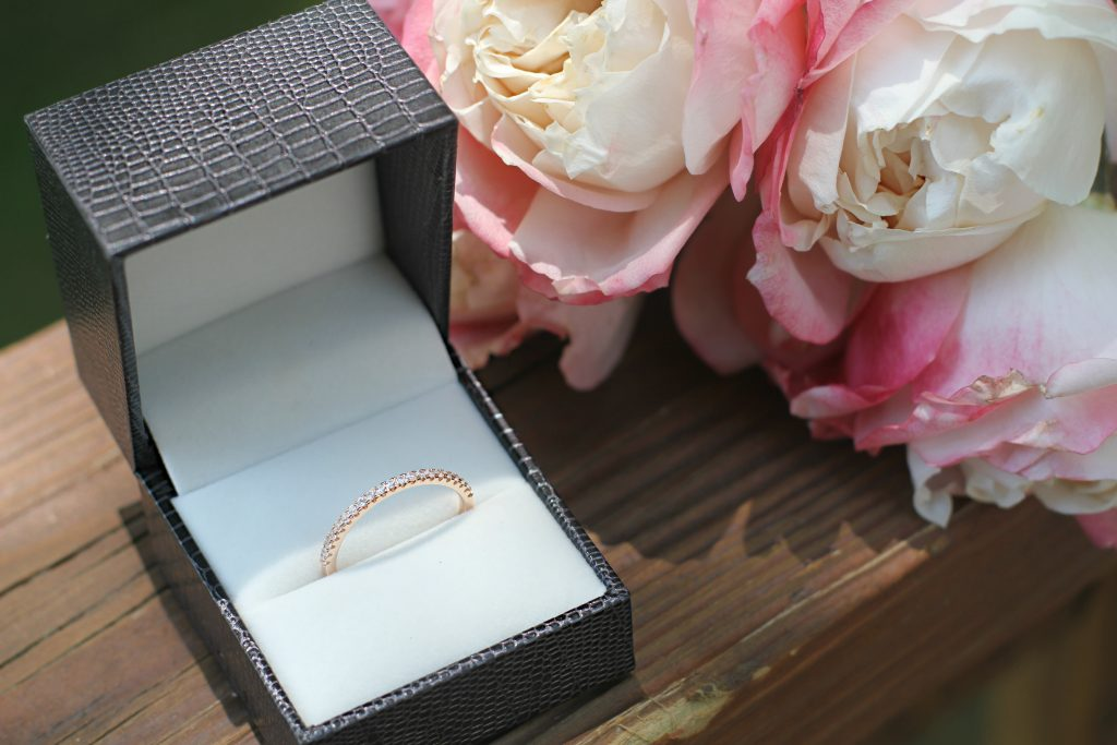 Rose Gold Cubic Zirconia Women Eternity Stackable Engagement Wedding Band