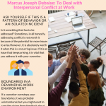 2020 Infographic by Marcus Joseph Debaise How to Deal with Interpersonal Conflict at Work