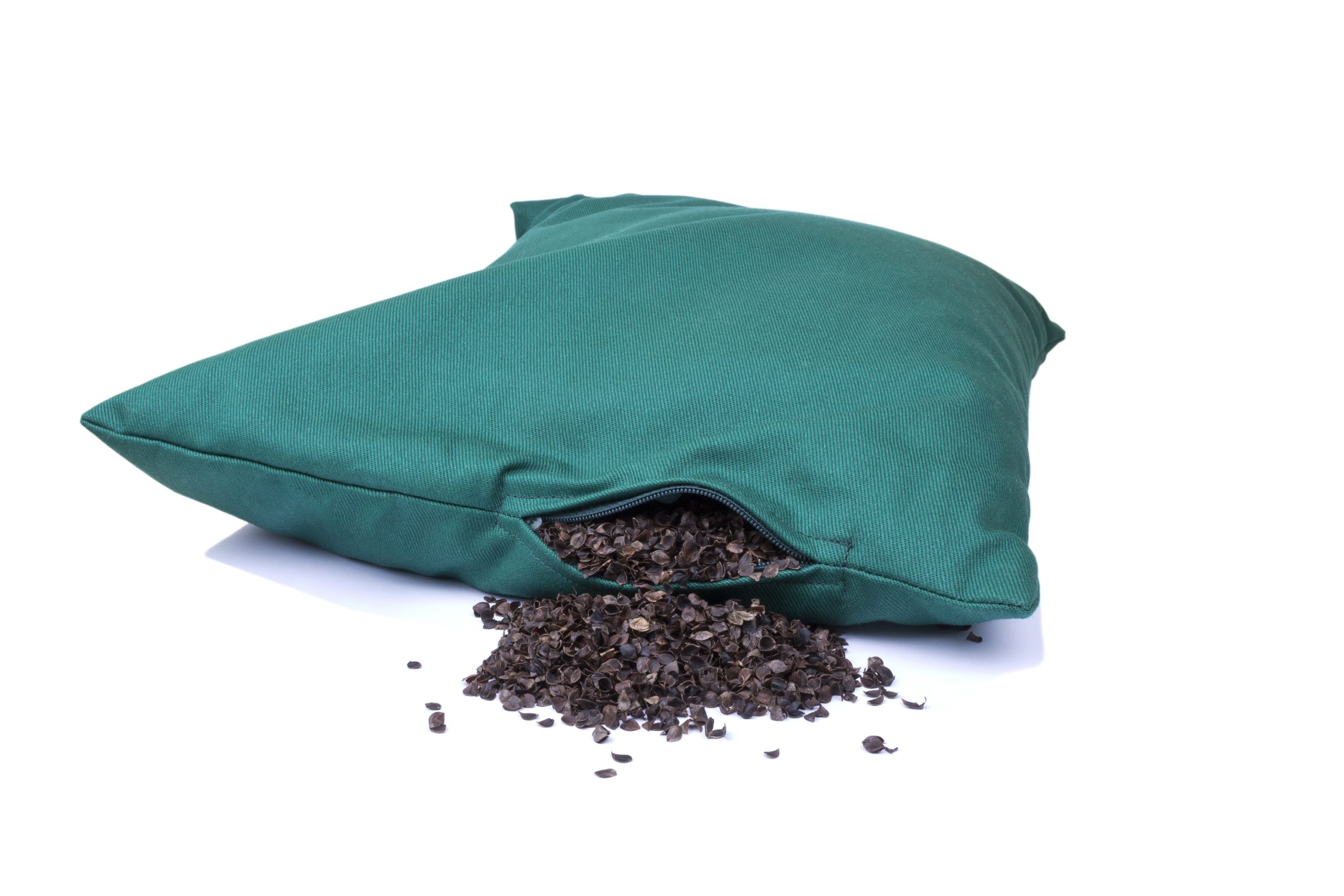 pillow with organic buckwheat hulls