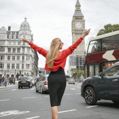 Young,Woman,Standing,Near,London,Big,Ben,-,Girl,Enjoying